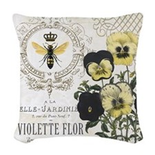 Modern Vintage French Pansies Woven Throw Pillow