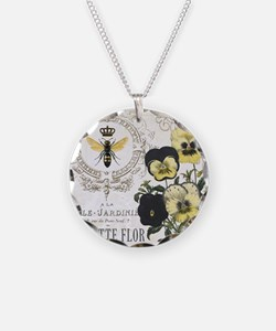 Modern Vintage French Pansies Necklace