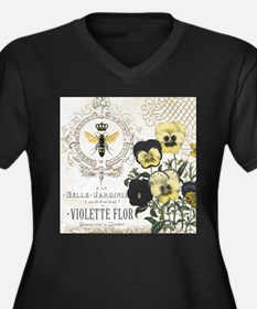 Modern Vintage French Pansies Plus Size T-Shirt