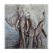 African elephant, wildlife art Tile Coaster