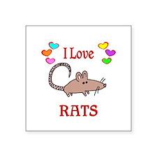 "I Love Rats Square Sticker 3"" x 3"""