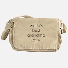 worlds best grandma of 4 Messenger Bag