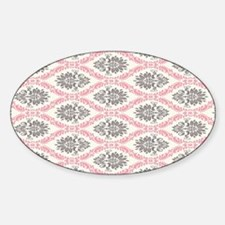 pink grey cream elegant damask Bumper Stickers