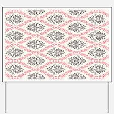 pink grey cream elegant damask Yard Sign