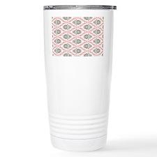 pink grey cream elegant damask Travel Mug