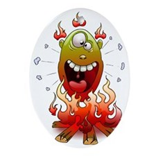 funny fire monster Oval Ornament