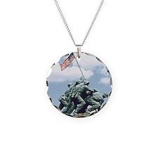 Marine Corps Memorial Iwo Ji Necklace Circle Charm