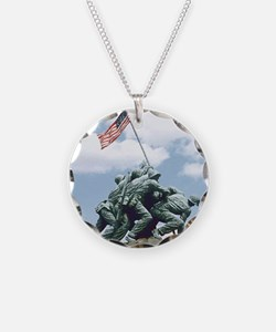 Marine Corps Memorial Iwo Ji Necklace Circle Charm