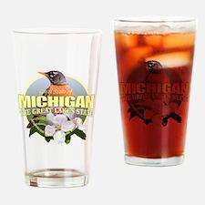Michigan State Bird & Flower Drinking Glass