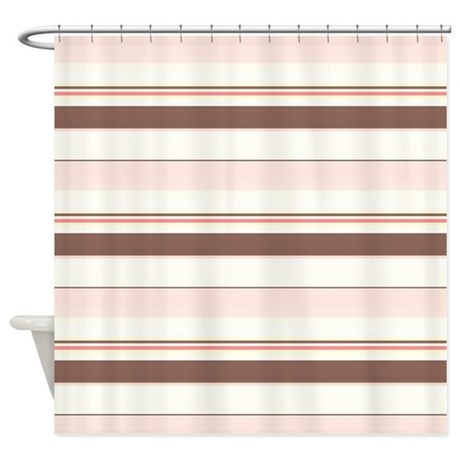 Pink And Brown Horizontal Stripe Shower Curtain By Cheriverymery