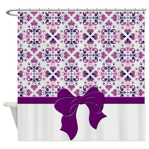 Plum Damask Shower Curtain By Cheriverymery