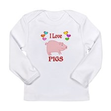 I Love Pigs Long Sleeve Infant T-Shirt
