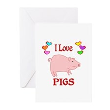 I Love Pigs Greeting Cards (Pk of 20)