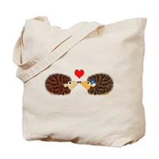 Cuddley Hedgehog Couple with Heart Tote Bag