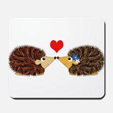 Cuddley Hedgehog Couple with Heart Mousepad