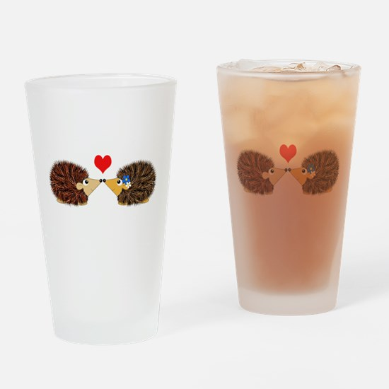 Cuddley Hedgehog Couple with Heart Drinking Glass
