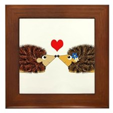 Cuddley Hedgehog Couple with Heart Framed Tile