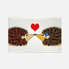 Cuddley Hedgehog Couple with Heart Rectangle Magne