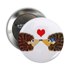 "Cuddley Hedgehog Couple with Heart 2.25"" Button"