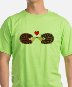 Cuddley Hedgehog Couple with Heart T-Shirt