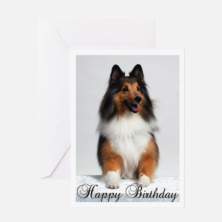 Happy Birthday W/Sheltie Greeting Card