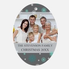Grey Aqua Custom Photo Christmas Ornament (Oval)