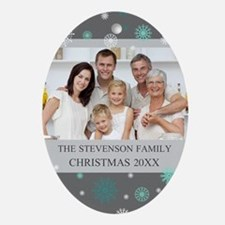 Grey Aqua Custom Photo Christmas Ornament (Oval)