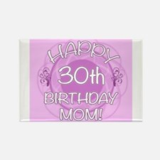 30th Birthday For Mom (Floral) Rectangle Magnet