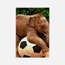 Elephant Plays Soccer Rectangle Magnet