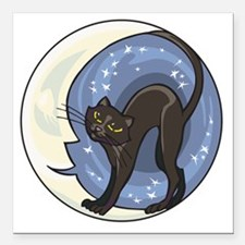 """black cat and starry moo Square Car Magnet 3"""" x 3"""""""