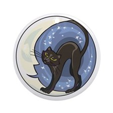 black cat and starry moon Round Ornament