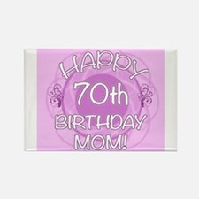 70th Birthday For Mom (Floral) Rectangle Magnet