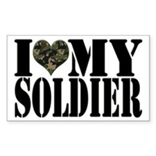 I Love My Soldier Rectangle Decal