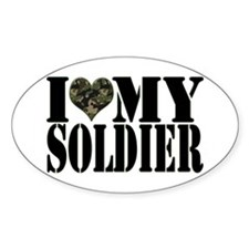 I Love My Soldier Oval Decal