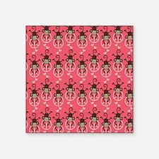 "cute peace monkey girly pat Square Sticker 3"" x 3"""