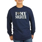 I love my soldier Long Sleeve T-shirts (Dark)