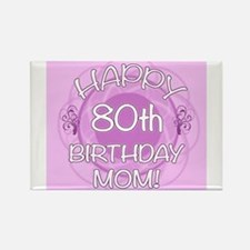 80th Birthday For Mom (Floral) Rectangle Magnet