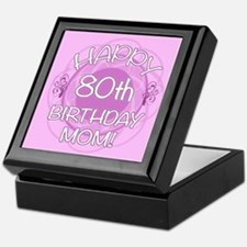 80th Birthday For Mom (Floral) Keepsake Box