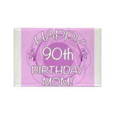 90th Birthday For Mom (Floral) Rectangle Magnet