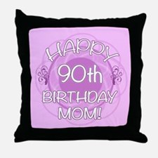 90th Birthday For Mom (Floral) Throw Pillow