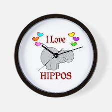 I Love Hippos Wall Clock