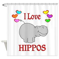 I Love Hippos Shower Curtain