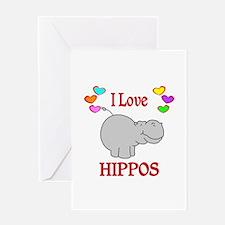 I Love Hippos Greeting Card