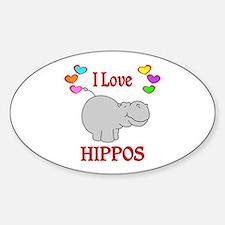 I Love Hippos Decal