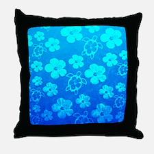 BlueHibiscusHonu Throw Pillow