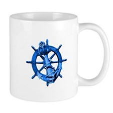 Blue Ship Anchor And Helm Mug