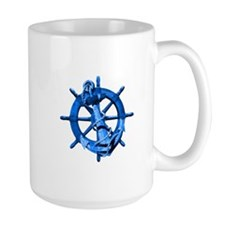 Blue Ship Anchor And Helm Mug
