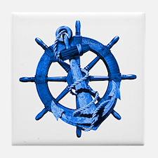 Blue Ship Anchor And Helm Tile Coaster