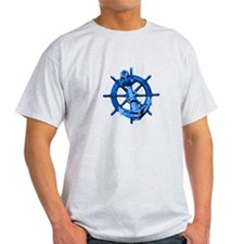 Blue Ship Anchor And Helm T-Shirt