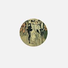Vintage Victorian Bride Groom Tandem B Mini Button
